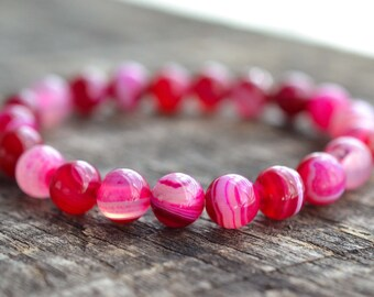 8mm Pink Banded Agate Bracelet Gemstone Bracelet Yoga Bracelet Womens Mens Bracelet Bead Bracelet Semi Precious Stone Bracelet Jewelry Gifts
