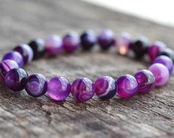 8mm Purple Banded Agate Bracelet Gemstone Bracelet Yoga Bracelet Womens Mens Bracelet Bead Bracelet Semi Precious Stone Bracelet Gifts