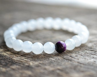 8mm Purple Tiger Eye Bracelet, White Jade Bracelet, Gemstone Bracelet, Womens Bead Bracelet, Mens Bracelet, Yoga Bracelet, Jewelry, Gifts