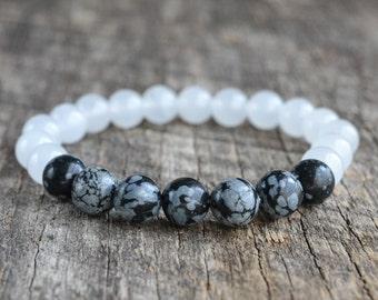 8mm Snowflake Obsidian Bracelet White Jade Bracelet Gemstone Bracelet Womens Bead Bracelet Mens Bracelet Yoga Bracelet Jewelry Gifts