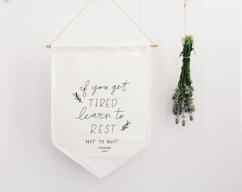 Learn to REST Wall Flag Fabric BANNER Wall Hanging