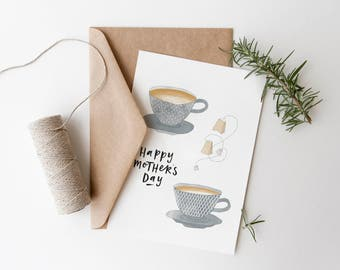 Mother's Day Greeting Card TEACUPS