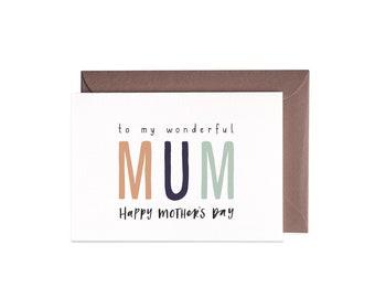 Mother's Day Greeting Card WONDERFUL MUM