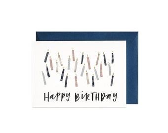 Birthday Candles Illustrated Greeting Card