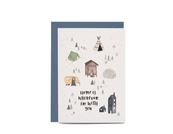 Greeting Card Home is wherever I\u2019m with you Card