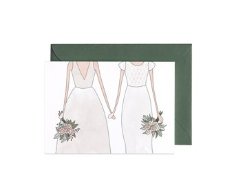 Wedding Lesbian Gay Couple Illustrated Greeting Card