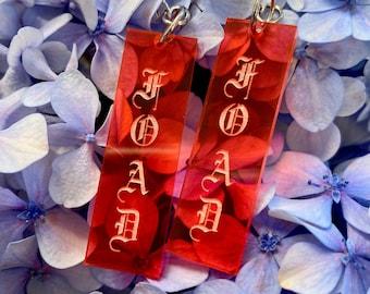 F.O.A.D. neon pink dangly earrings