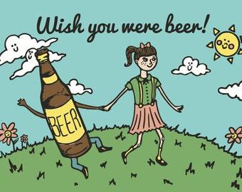 Single Wish You Were Beer cute retro postcard-One