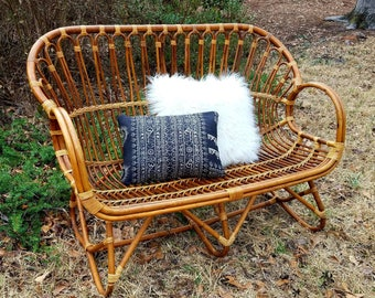 rattan sofa etsy rh etsy com vintage rattan sofa outdoor cushion vintage wicker sofa table