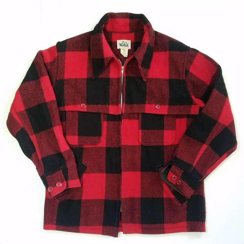4c938bc3169 Red Buffalo Plaid Woolrich Jacket Vintage Wool Coat Mackinaw