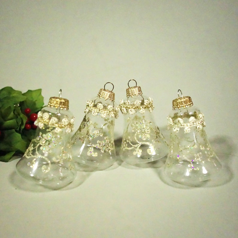 Krebs Bell Christmas Ornaments Retro Clear Glass Glitter Set Of 4 Vintage West Germany