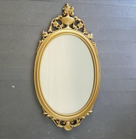Vintage Gold Oval Mirror Large Ornate Framed Retro Etsy