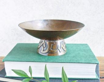 Vintage Hammered Copper Pedestal Bowl, Middle Eastern, Trinket Dish, Retro Persian Moroccan Boho