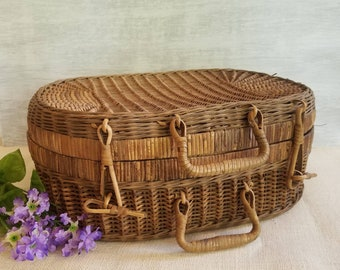 Antique Woven Picnic Basket, Vintage Wicker Basket, Gift Idea, Willow Storage Basket, French Farmhouse