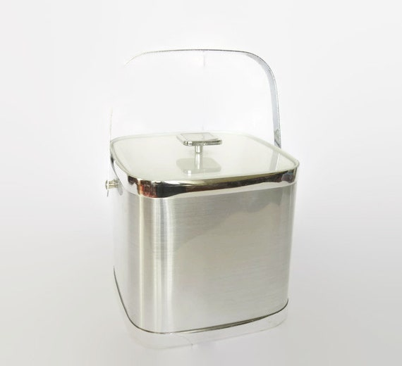 culver insulated ice bucket silver chrome lucite acrylic etsy