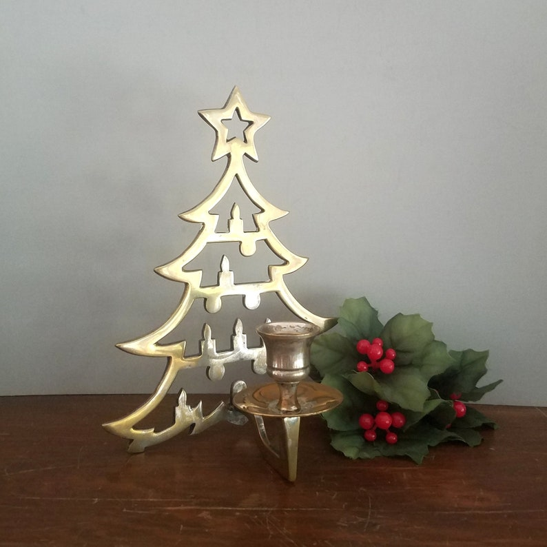 Christmas Tree Candle Holder.Christmas Tree Candle Holder Solid Brass Candle Sconce Vintage Holiday Decor