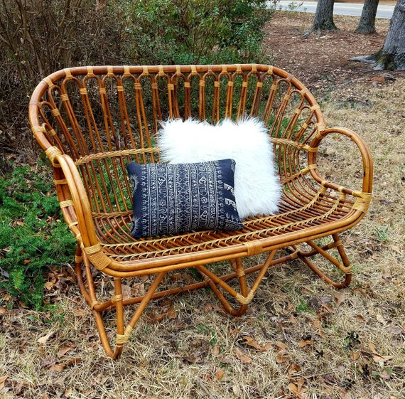 Rattan Loveseat Vintage Boho Settee Retro Wicker Sofa | Etsy