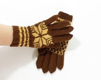 Hand Knitted Gloves - Brown, Size Medium