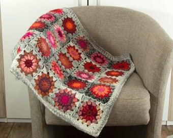 Crochet Granny Square Blanket, Crochet Baby Blanket, Wool Mohair Blanket, First Blanket, Home Decor, Lap Blanket - Gray, Red and Pink