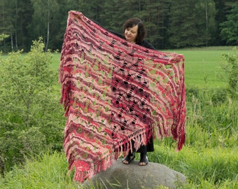Hand Crochet Mohair Wrap, Handmade Triangle Shawl, Women Fashion, Red Mohair Shawl, Over Size,  XXXL Lace Shawl, Spring Gift for Her