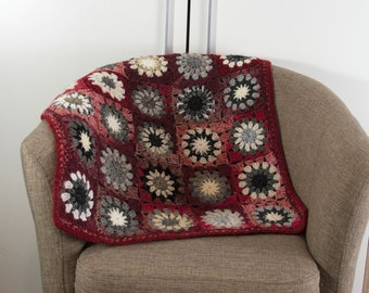 Crochet Granny Square Blanket,Crochet Baby Blanket, Wool Mohair Blanket, Lap Blanket, Sofa Throw - Red, Gray and White