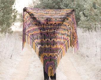 Crochet Shawl, Shoulder Wrap, Handmade Triangle Shawl, Crochet Wrap Shawl, Winter Accessory Green Pink Purple Yellow