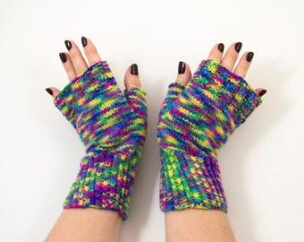 Hand Knitted Fingerless Mittens, Fingerless Gloves - Green, Blue,Yellow, Pink Size Medium