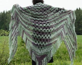 Crochet Large Shawl Wrap Knit Triangle Shawl Lace Shawl Mohair Shawl Big Shawl  for Big Girls - Green  Purple White Plus Size  Extra Large