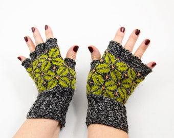 Hand Knitted Fingerless Gloves - Gray and Green, Size Medium
