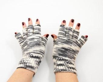Hand Knitted Fingerless Gloves - Black and White, Size Medium