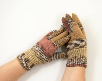 Hand Knitted Gloves - Brown, Gray and Beige, Size Small