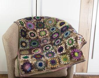 Crochet Granny Square Blanket,Crochet Baby Blanket, Wool Blanket, Mohair Blanket, Lap Blanket,Throw - Colorful
