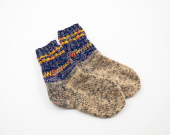 Hand Knitted Socks - Beige, Blue and Gray, Size Small