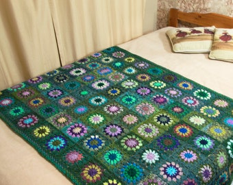 Crochet Granny Square Blanket, Handmade Blanket,Crochet Afghan Throw,Knit Bed Spread, Home Warming Gift, Home Decor, Dark Green with Flowers