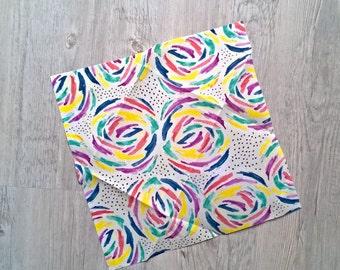 Zero Waste Beeswax Bio Cotton Food Wrap with Rainbow Flowers   / Bee Waxed Cloth cca 10 x 10 inch (26x26cm) / Food Wrap