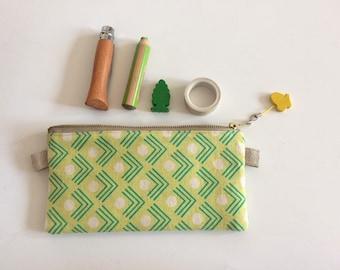 Small Flat Linen Green Pouch With Golden Zipper a Wooden Butterfly