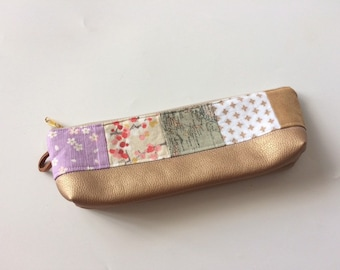 Patchwork Pencil Case with Genuin Leather Stripe