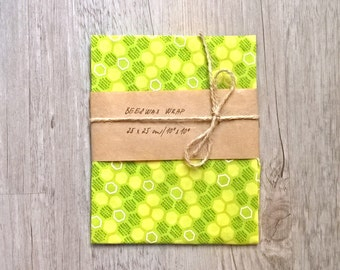 Zero Waste Beeswax Food Wrap Green and Yellow with Honeycomb  / Bee Waxed Cloth cca 10 x 10 inch (26x26cm) / Food Wrap