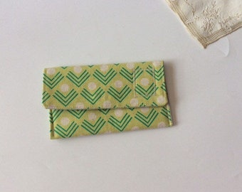 Pocket Square Pouch / Fabric Handkerchiefs Pouch - Green Pattern