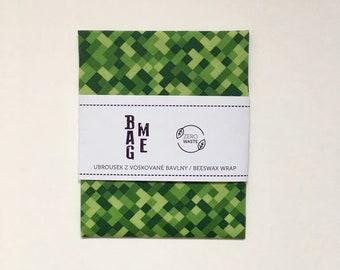 Zero Waste Bee Waxed Biocotton Food Wrap with Maincraft Squares   / Bee Waxed Cloth cca 10 x 10 inch (26x26cm) / Food Wrap