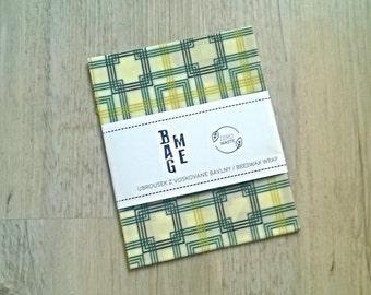 Zero Waste Beeswax Bio Cotton Food Wrap Green Squared  / Beeswax Cloth cca 10 x 10 inch (26x26cm) / Food Wrap