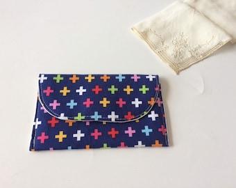 Pocket Square Pouch / Fabric Handkerchiefs Pouch - Colored Crosses