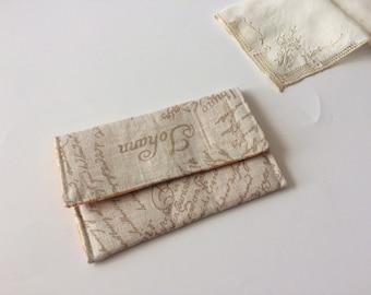 Pocket Square Pouch / Fabric Handkerchiefs Pouch - Golden Letters