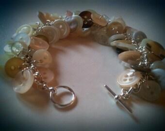 Deluxe Button Charm Bracelet - Cream / White / Brown - Vintage