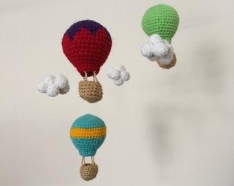 Hot Air Balloons Crochet PDF Pattern Mobile Garland