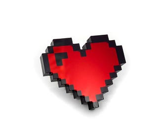 8 Bit Pixel Heart Pin - Laser Cut