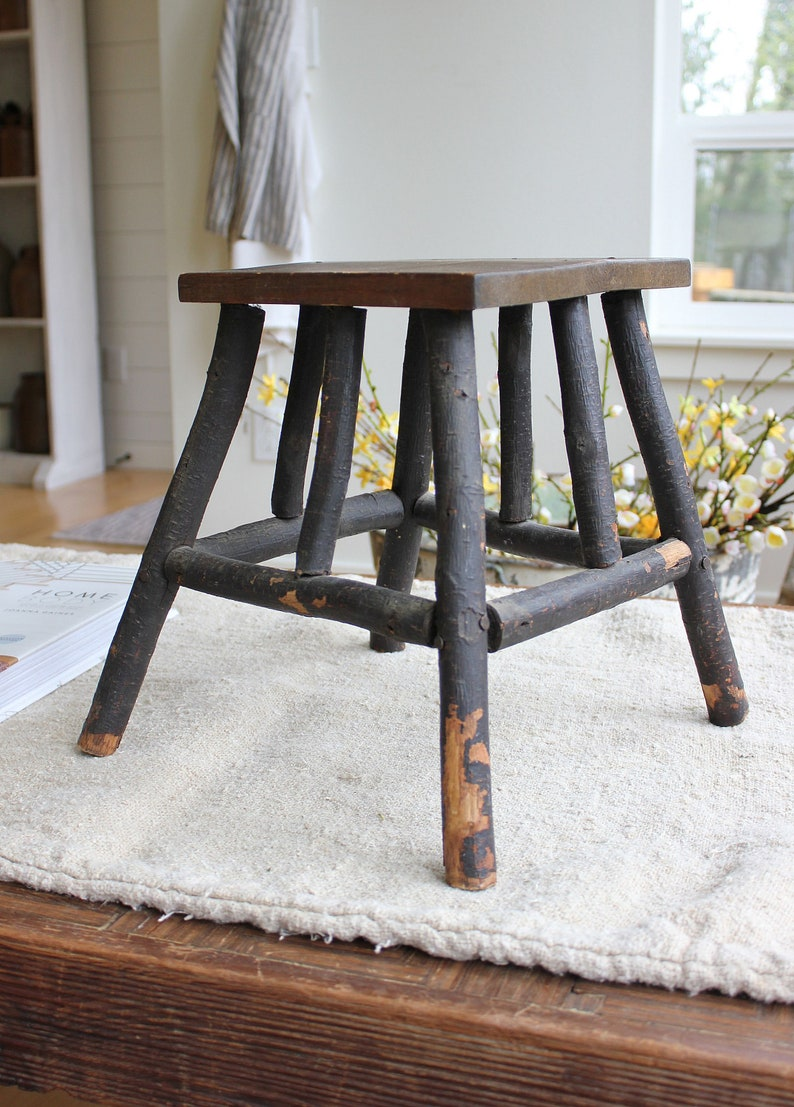 Marvelous Rustic Vintage Foot Stool Or Plant Stand Wood Branch Primitive Country Farmhouse Adirondack Lodge Cabin Style Pabps2019 Chair Design Images Pabps2019Com