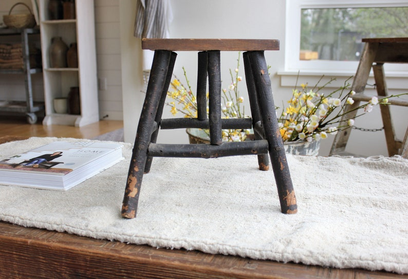 Swell Rustic Vintage Foot Stool Or Plant Stand Wood Branch Primitive Country Farmhouse Adirondack Lodge Cabin Style Pabps2019 Chair Design Images Pabps2019Com