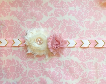 Pink and gold arrow headband/ Newborn headband/ Baby girlheadband