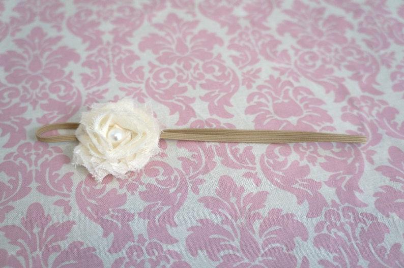 Cream shabby chic flower with pearl center on Khaki super skinny headband